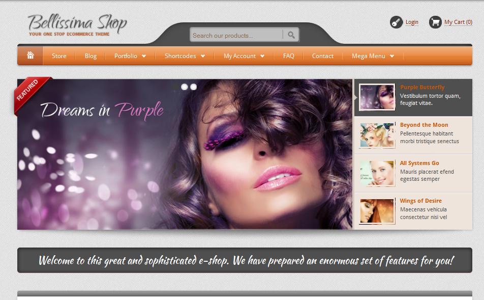 bellissima shop WordPress online store theme
