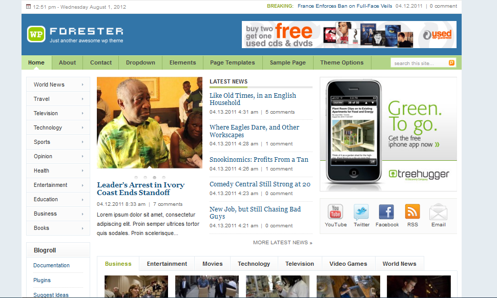 forester wordpress theme for newspaper