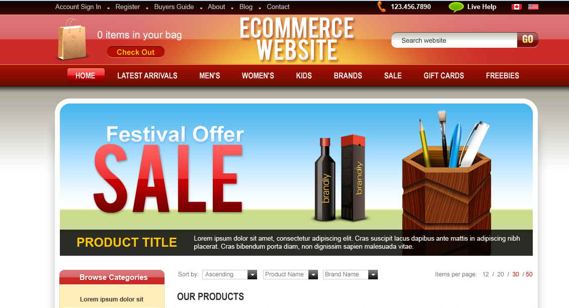Ecommerce Portal Free PSD Website Template