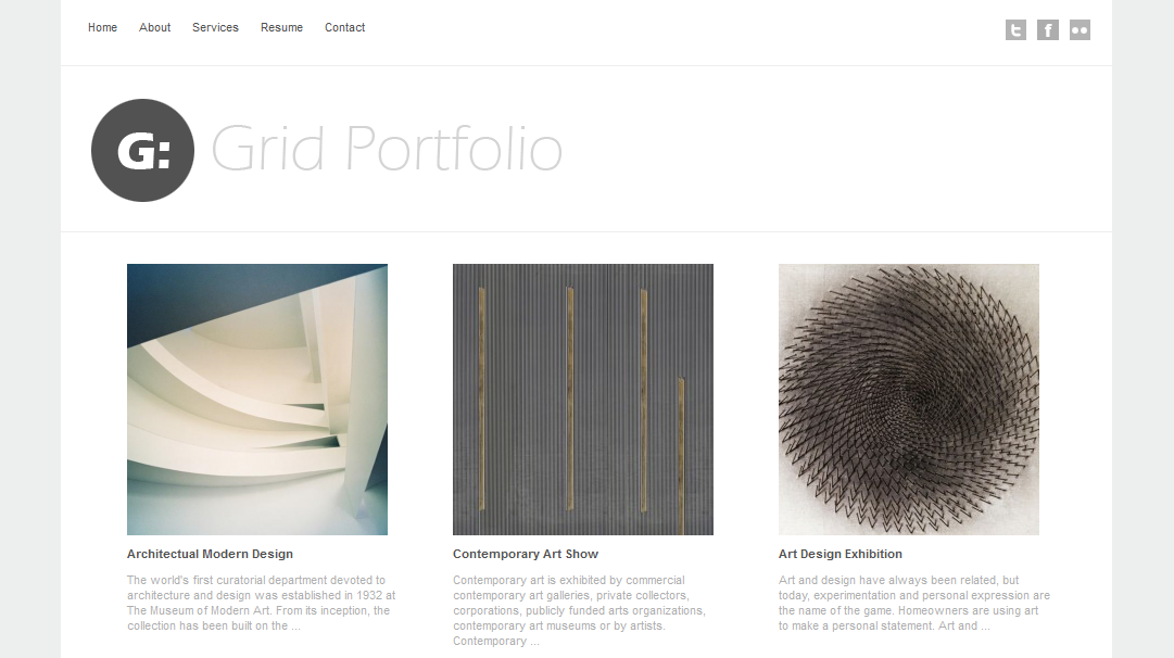 Grid Portfolio Theme that was designed for illustrators, photographers and graphic designers