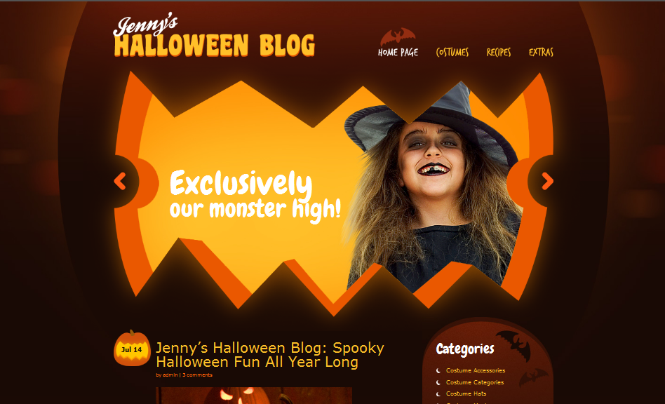 halloween wordpress personal theme