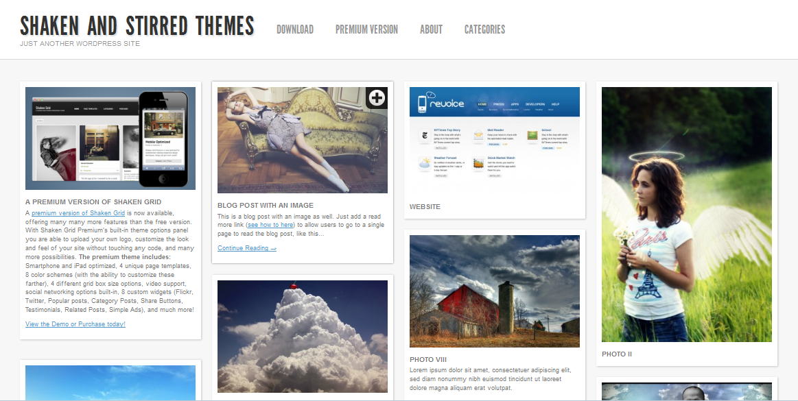Shaken Grid an Elegent WordPress theme