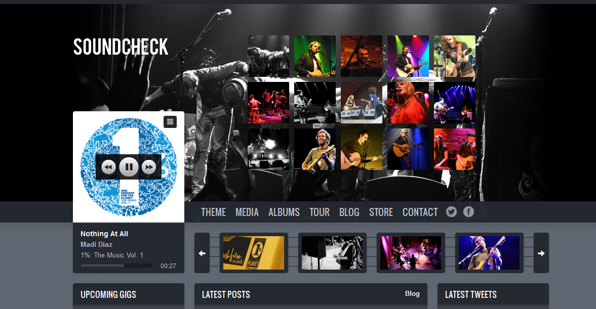 soundcheck WordPress theme perfect for bands, artists, musicians, churches, DJ's